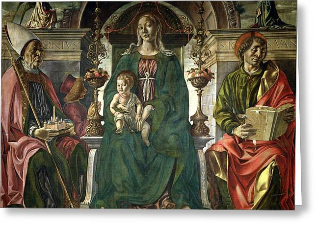 The Virgin and Saints Greeting Card by Francesco del Cossa