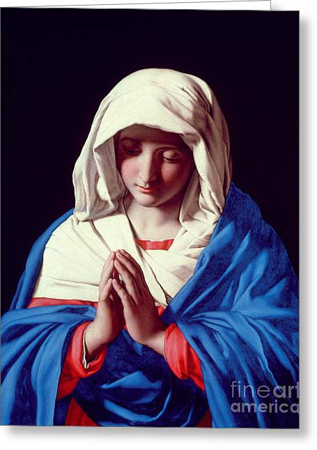 Virgin Mary Greeting Cards - The Virgin in Prayer Greeting Card by Il Sassoferrato