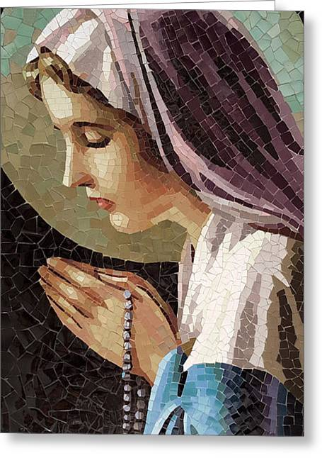The Virgin In Prayer Greeting Card by Nhon Mai
