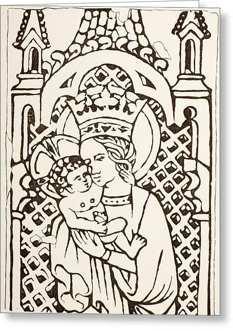Virgin Mary Drawings Greeting Cards - The Virgin Mary Holding The Infant Greeting Card by Ken Welsh
