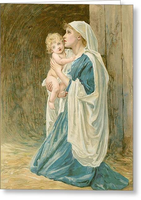 Baby Jesus Paintings Greeting Cards - The Virgin Mary with Jesus Greeting Card by John Lawson