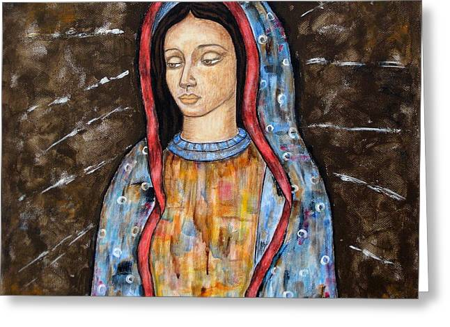 Virgen De Guadalupe Art Greeting Cards - The Virgin of Guadalupe Greeting Card by Rain Ririn
