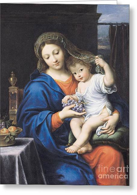 Blue Grapes Greeting Cards - The Virgin of the Grapes Greeting Card by Pierre Mignard