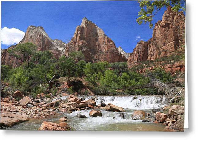 Rocks Greeting Cards - The Virgin River At Zion Greeting Card by Donna Kennedy