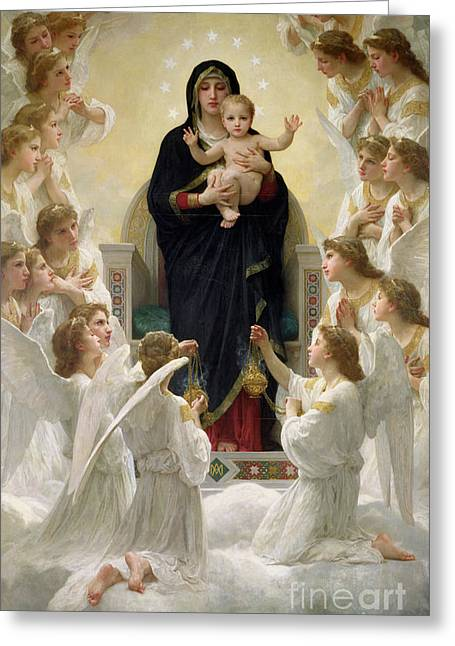 Virgin Mary Greeting Cards - The Virgin with Angels Greeting Card by William-Adolphe Bouguereau