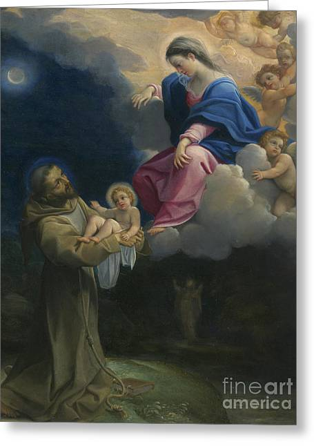 The Vision Of Saint Francis Greeting Card by Lodovico Carracci