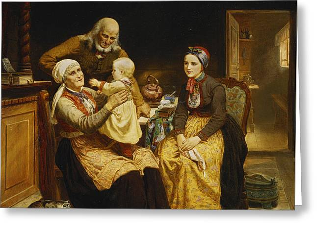 The Visit To The Grandparents Greeting Card by Adolph Tidemand