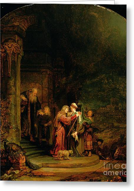 Bible Scene Greeting Cards - The Visitation Greeting Card by  Rembrandt Harmensz van Rijn