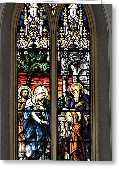 Charlotte Greeting Cards - The Visitation Stained Glass Greeting Card by Richard Jenkins