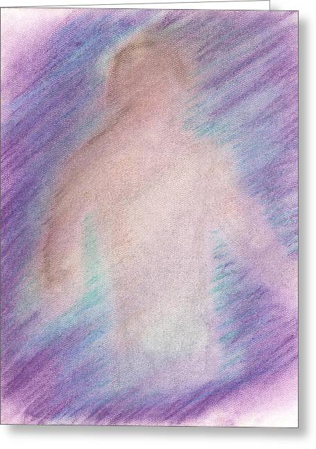 Depression Pastels Greeting Cards - The Visitor Greeting Card by KCWarthog Art