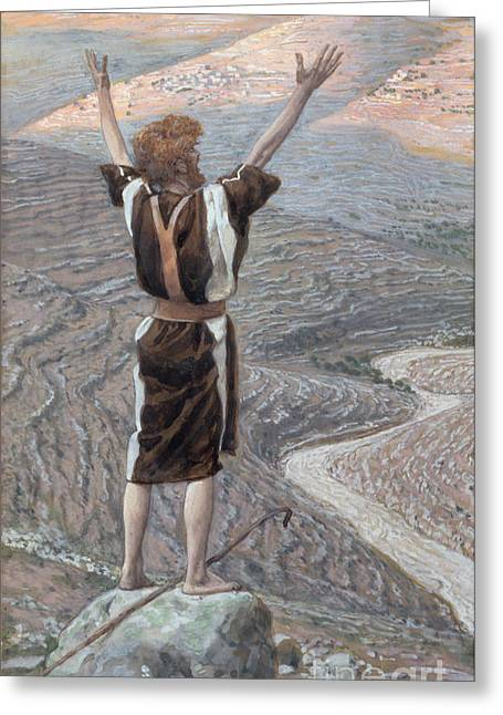 Figures Paintings Greeting Cards - The Voice in the Desert Greeting Card by Tissot
