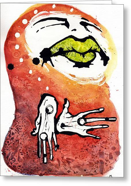 Metaphysics Mixed Media Greeting Cards - The Voice Greeting Card by Mark M  Mellon