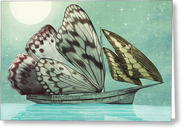 Butterflies Drawings Greeting Cards - The Voyage Greeting Card by Eric Fan