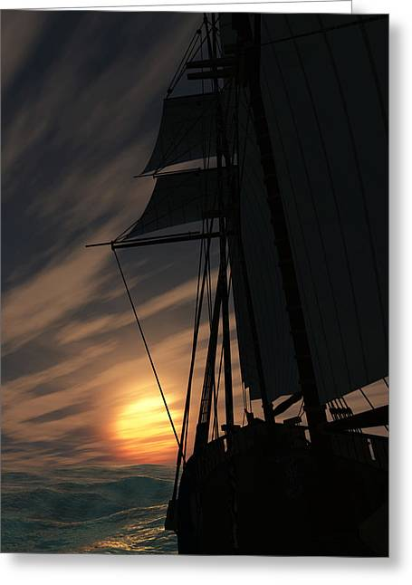 Schooner Greeting Cards - The Voyage Home  Greeting Card by Richard Rizzo
