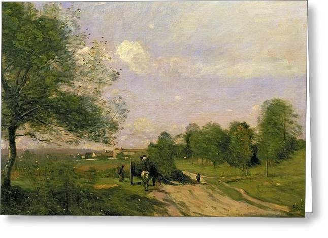 The Country School Greeting Cards - The Wagon Greeting Card by Jean Baptiste Camille Corot