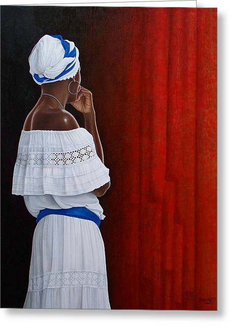 White Cloth Paintings Greeting Cards - The Wait Greeting Card by Horacio Cardozo