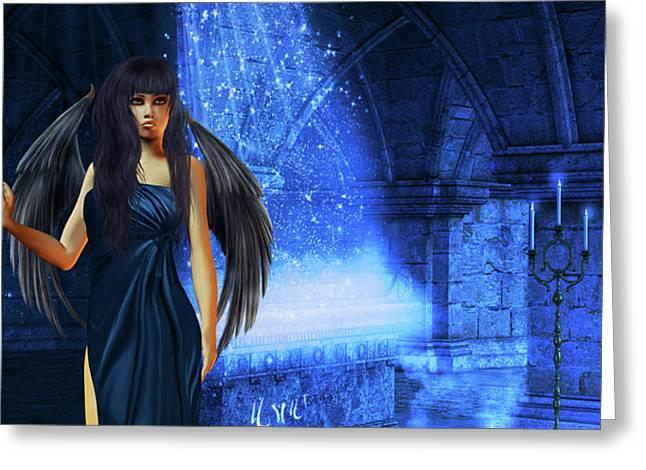 The Waiting Of The Dark Angel Greeting Card by Emma Alvarez