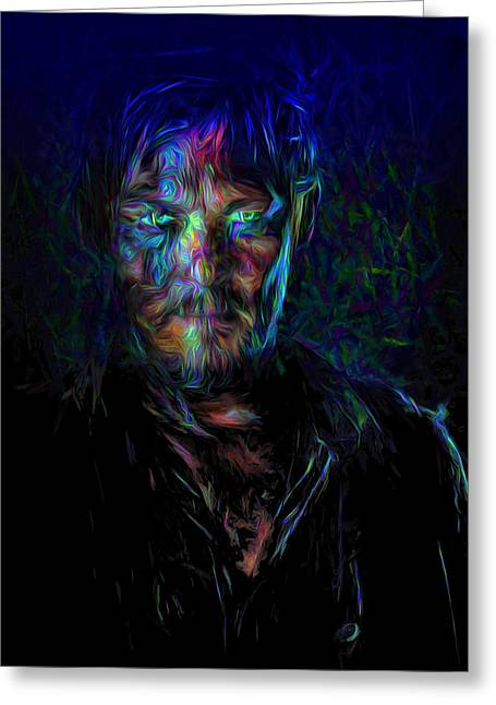 Rick Grimes Greeting Cards - The Walking Dead Daryl Dixon Painted Greeting Card by David Haskett