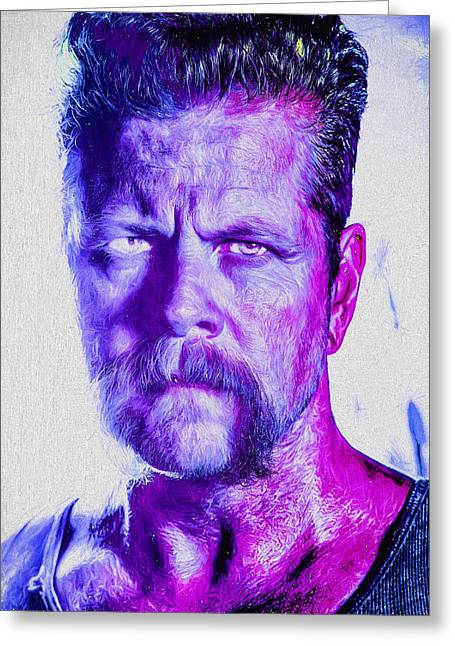 Andrew Michael Greeting Cards - The Walking Dead Michael Cudlitz Sgt. Abraham Ford Painted Greeting Card by David Haskett