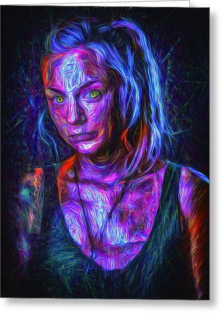 Rick Grimes Greeting Cards - The Walking Dead Painted Emily Kinney Beth Greene Greeting Card by David Haskett