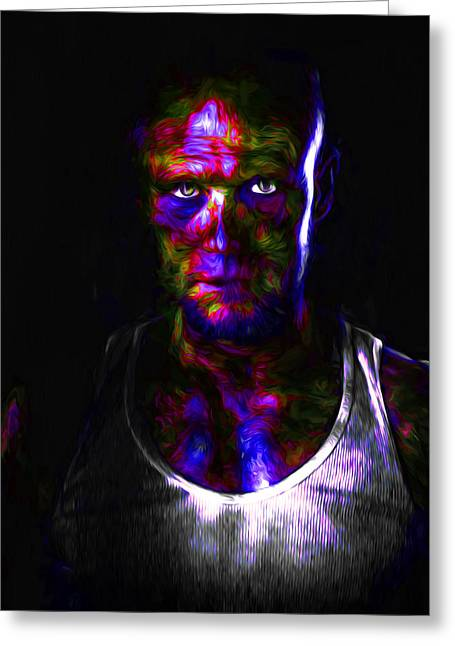 Andrew Michael Greeting Cards - The Walking Dead Painted Michael Rooker Merle Dixon Greeting Card by David Haskett