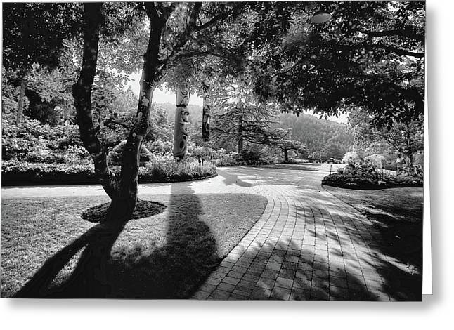 Butchart Gardens Greeting Cards - The Walkway Bw Greeting Card by Lawrence Christopher