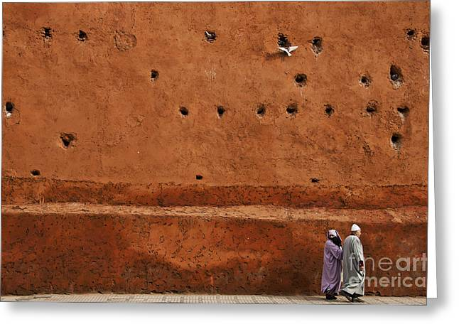 Marrakesh Greeting Cards - The Wall Greeting Card by Marion Galt