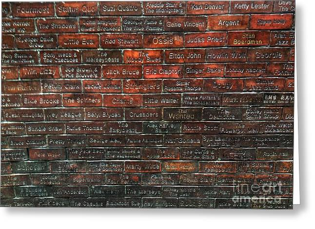 Fame Greeting Cards - The Wall of Fame Liverpool Greeting Card by Joan-Violet Stretch