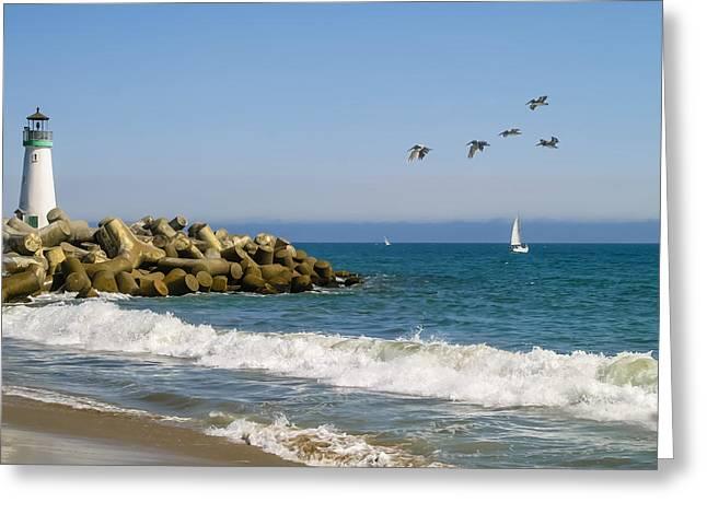 The Santa Cruz Harbor Lighthouse Greeting Cards - The Walton Lighthouse Greeting Card by Wes Jimerson