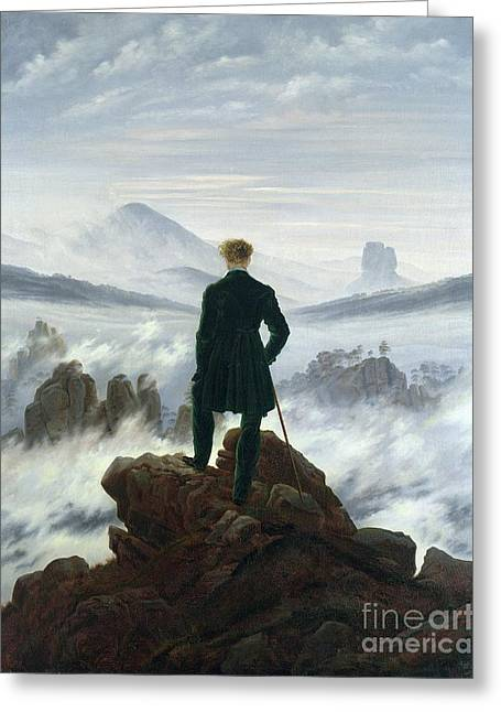 Foam Greeting Cards - The Wanderer above the Sea of Fog Greeting Card by Caspar David Friedrich