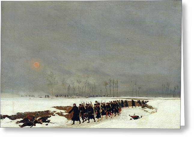 The War Of 1870 An Infantry Column On Their Way To A Raid Greeting Card by Jean-Baptiste Edouard Detaille