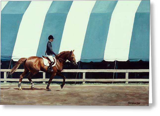 Show Horse Greeting Cards - The Warmup Greeting Card by Linda Tenukas