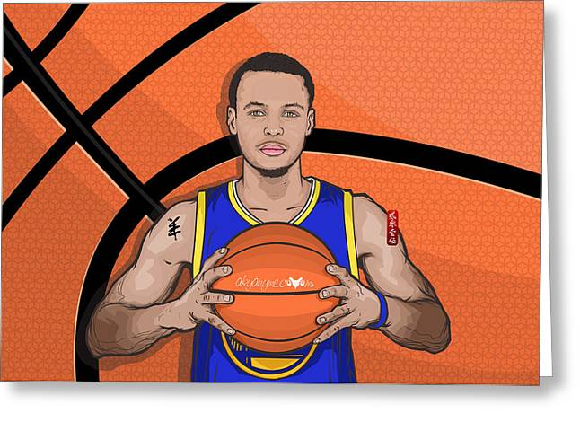 Golden State Warriors Digital Greeting Cards - The Warrior of the Golden Bridge Curry30 Greeting Card by Akyanyme