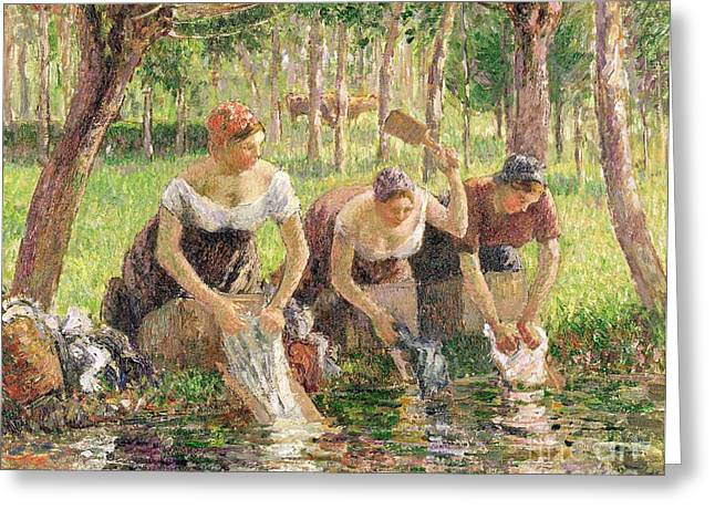 Domestic Scene Greeting Cards - The Washerwomen Greeting Card by Camille Pissarro