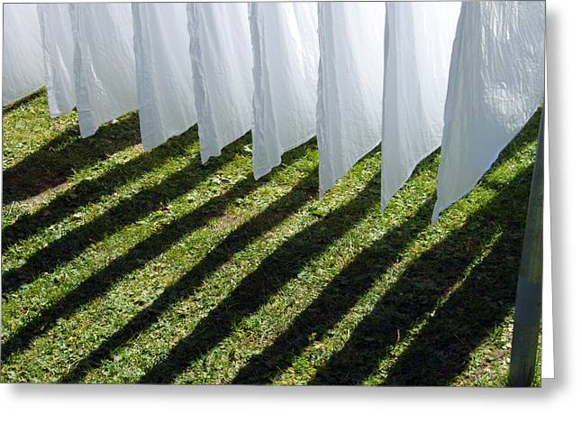 Bed Linens Greeting Cards - The washing is on the line - shadow play Greeting Card by Matthias Hauser