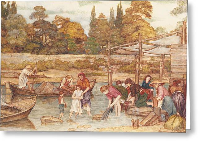 The Trees Drawings Greeting Cards - The Washing Place Greeting Card by John Roddam Spencer Stanhope