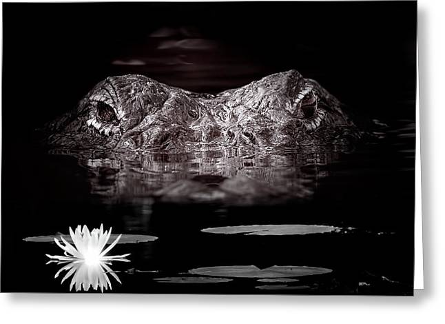 The Watcher In The Water Greeting Card by Mark Andrew Thomas