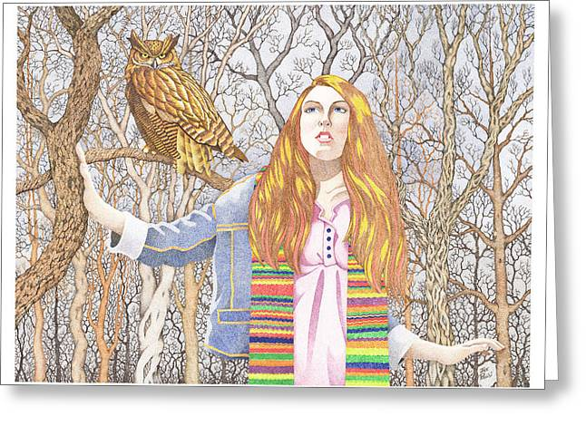 Stipple Drawings Greeting Cards - The Watcher Greeting Card by Jack Puglisi