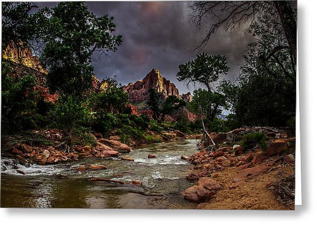 Watchman Greeting Cards - The Watchman along the Virgin River Greeting Card by Scott McGuire