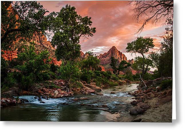 The Watchman Sunset Zion National Park Greeting Card by Scott McGuire