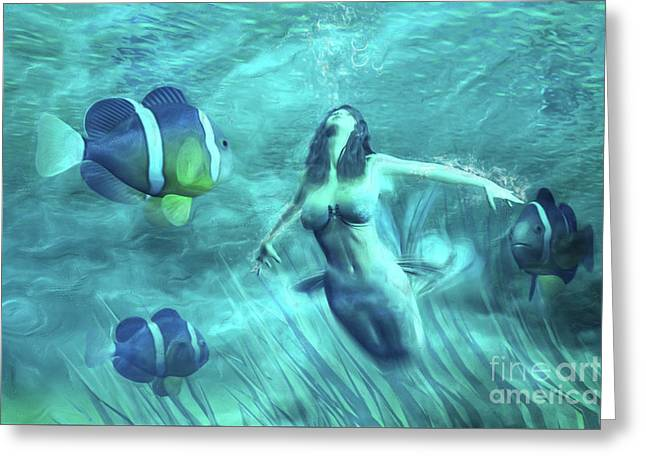 The Water Maid Greeting Card by John Edwards