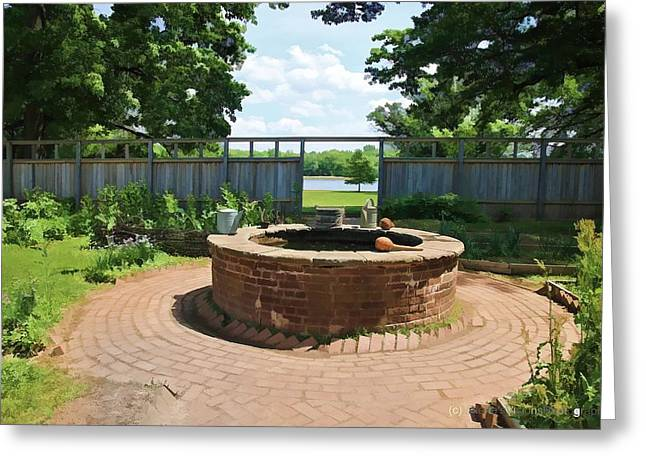 Pennsbury Greeting Cards - The Watering Well Pennsbury Manor  Greeting Card by Valerie Stein