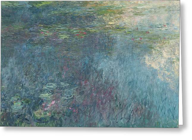 Water Garden Greeting Cards - The Waterlilies  The Clouds Greeting Card by Claude Monet
