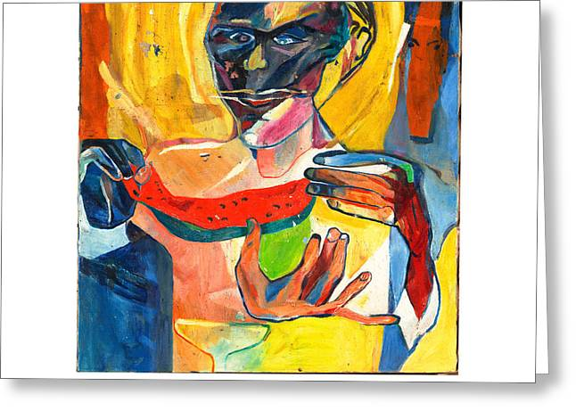 Watermelon Greeting Cards - The Watermelon Eaters Greeting Card by Red Jordan Arobateau