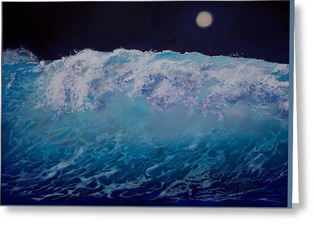 Sea Moon Full Moon Greeting Cards - The Wave Greeting Card by Leo  Devillers