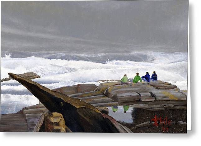 Rocky Coastline Greeting Cards - The Wave Watchers Greeting Card by Dominic White