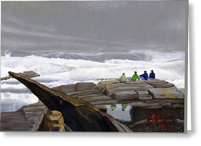 The Wave Watchers Greeting Card by Dominic White