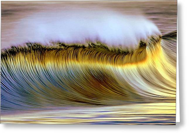 Beach Photography Pyrography Greeting Cards - The Wave Greeting Card by Zarija Pavikevik