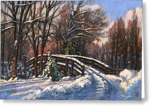 Snow Scene Landscape Pastels Greeting Cards - The Way Home Greeting Card by L Diane Johnson