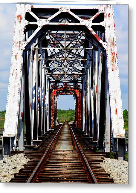 Train Bridge Greeting Cards - The Way is Clear Greeting Card by Karen Wiles